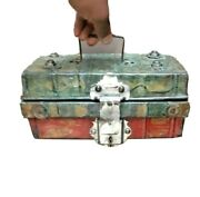 Vintage Best Improved Trunk Lock Tin Box Made In Germany With Lock And Key Paint