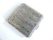 Superb Antique Filigree Enameled Sterling Silver Powder Compact Persian
