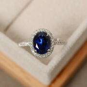 Oval 2.65 Ct Diamond Blue Sapphire Rings Solid 14k Hallmark White Gold Size 7 8