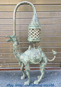 36 Antique China Silver Bronze Dynasty Palace Camel Beast Word Light Lamp