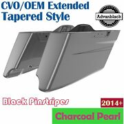Charcoal Pearl Cvo Tapered Extended Saddlebags Pinstripes For Harley Touring 14+
