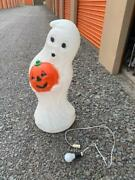 Vintage Large Blow Mold Ghost Holding Pumpkin 34 Tall General Foam Lights Up