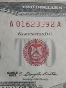 1963 Two Dollar Us Note Red Seal 2 Bill Monticello Crisp Uncirculated A10