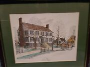 Framed Hand Colored Etching Dodsonand039s Tavern Petersburg Virginia