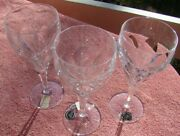 3 Lovely Tiffin Franciscan Aria Cut Glass 6 3/4 Wine Goblet Stems New