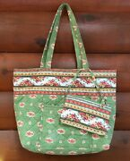 Pierre Deux Green Floral Quilted Tote Bag Handbag Change Purse French Country