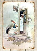 Plaque Wall Art Cream Of Wheat 1917 Cereal Ad Chef Bird Baby Metal Tin Sign