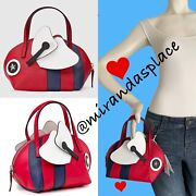 New Kids Teen Girl Red White Navy Bee Handle Appliqued Small Bag Pouch