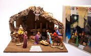 Vintage Sears Nativity Set 10 Figures Wood Stable Made In Italy 97893 W/ Box