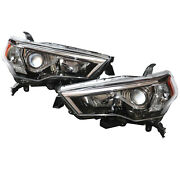 Chrome Headlights Clear Headlamps Left + Right Fits For 2014-2020 Toyota 4runner