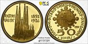 1990 Andorra 50 Diners Gold Coin Pcgs Pr64dcam And039antoni Gaudiand039d