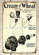 Cream Of Wheat 1907 Thanksgiving Day Turkey Chef Metal Tin Sign Cafe Living Room