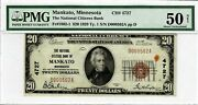 1929 20 Fr1802-1 Natl Citizens Bank Mankato Mn Pmg Au-50 Low Serial Number 562