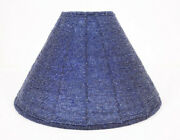 Glass Seed Bead Navy Blue Lamp Shade 12andrdquo Cone Bell Flare Vtg Mod Replacement