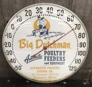 Vintage Big Dutchman Poultry Feeder Dairy Farm Advertising Thermometer Sign