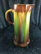 Vintage Art Pottery Drip Glaze Brown And Green Large Pitcher 12 1/4 X 7 3/4