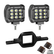 2x4in 180w Tri-row Led Work Lights Spot Flood +tailer Tow Hitch Mounting Bracket
