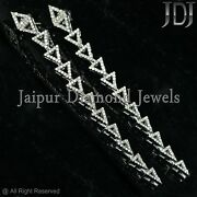 Pave Natural Diamond Long Dangle Earrings 925 Sterling Silver Mother's Jewelry