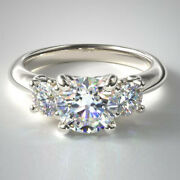 Three Stone 1.10 Ct Natural Diamond Engagement Ring Solid 14k White Gold Size 7