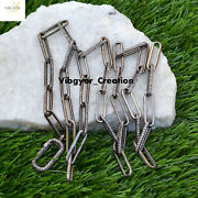 Pave Diamond 24 Link Chain 925 Sterling Silver Clasp Lock Long Necklace Jewelry