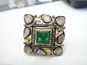 Natural Rose Cut And Green Emerald Stone Solid 925 Sterling Silver Ring Jewelry