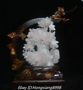16'' China Natural Powder Jade Pure Manual Carving Peony Flower Flowers Statue