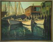 Olive C. Moore Sgnd Rockport Ma 20th C American Vint O/c Pier W/fishing Boats