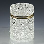 Antique Clear Glass Trinket Box In Diamond Button Pattern Hinged Lid