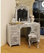 Miniature Dollhouse French Gray Vanity With Chair 112 Scale New Furniture Room