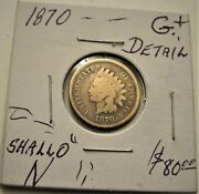 Nice 1870 Shallow N. Indian Head Cent Penny Lot.g+.detail