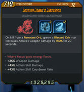 Ps4/5 Borderlands 3 - Lv.65 Deathand039s Blessings -weapon Dmg Andaction Skill God Roll