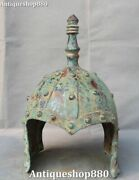 Collect Old Chinese Bronze Ware Ancient People Man General Helmet Mask Statue