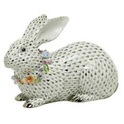 Herend Hungary Porcelain Gray Bunny With Garlan 16104vhsp133fishnet Limited Ed
