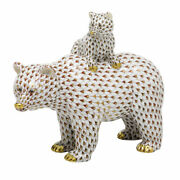 Herend Hungary Porcelain Grizzly Bear And Baby 05913vhsp97 Fishnet New Limited Ed