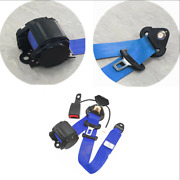 1x Blue 3 Point Retractable Car Seat Belt Lap And Diagonal Belt With Warning Cable
