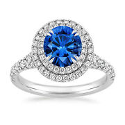 Solid 14k White Gold 2.20 Ct Natural Diamond Real Blue Sapphire Rings Size 7 8 9
