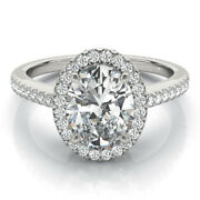 Real 0.90 Ct Oval Diamond Wedding Rings Solid 14k White Gold Ring Size 5 6 7 8 9