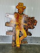 Super Cool 1950and039s Large Hand Painted Wooden Sign Of Cowboy Roy Rogers