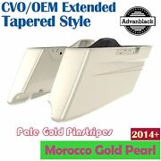 Morocco Gold Pearl Cvo Tapered Extended Saddlebags Pinstripes For Harley 2014+