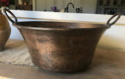 Vintage French Copper Pot, Rustic Hammered Exterior,hugec.1930s