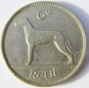 Irish 1940 Sixpence 6d Coin Pence Low Mint Year Ireland Wolfhound And Harp Eire