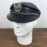 Vintage Black Leather Chain And Eagle Pin Biker Hat Mens Xs/s Ch31