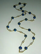Antique 750 Gold Necklace 18k With Lapis Lazuli Beads Gemstone Chain
