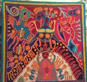 Vintage Jose Benito Sanchez Huichol Folk Art Mexico Shaman Peyote Yarn Painting