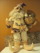 Vintage Lynn West Realistic Santa Elf Gnome Doll Figure 19 Stands Alone Signed