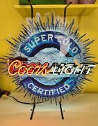 Coors Light Super Cold Certified Neon Standing Lighted Sign 25 X 25