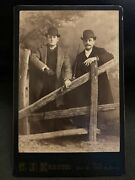 1880s Antique Cabinet Card Photo 2 Dapper Men W Bowler Hats And Cigars Kratts