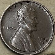 """1910 -s """"extra Fine++"""" Lincoln Wheat Penny. Lincoln Wheat Cent. Low Mintage"""