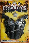 Toy Cowboy 2pc Plastic Gun Pistols Wild West Play W/bullets,badge And Holsters