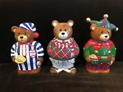 Trio Of Perfect Neiman Marcus Teddy Bear Christmas Cookie Jars 1997, 1998 And 1999